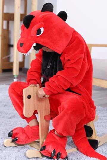 Детский кигуруми динозавр красный фото