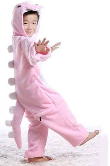 Детский кигуруми динозавр розовый