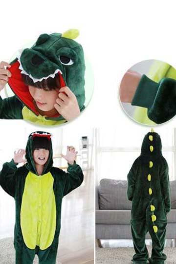 Детский кигуруми динозавр зеленый купить