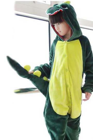 Детский кигуруми динозавр зеленый фото