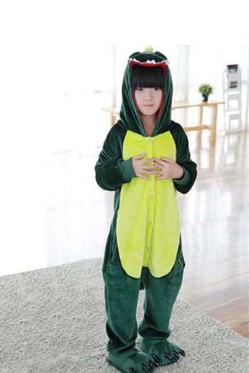 Детский кигуруми динозавр зеленый
