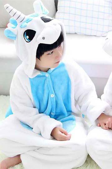 Детский кигуруми голубой единорог