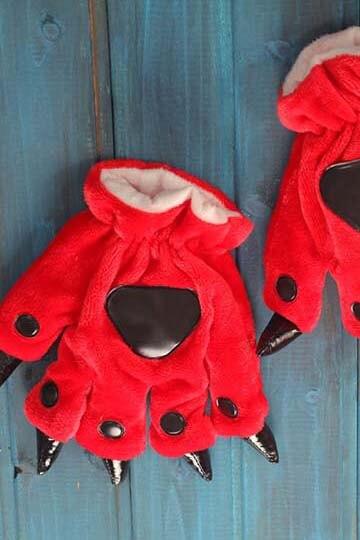 Лапки кигуруми красные